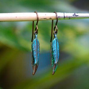 Jewelry - Blue Feather BOHO Earrings